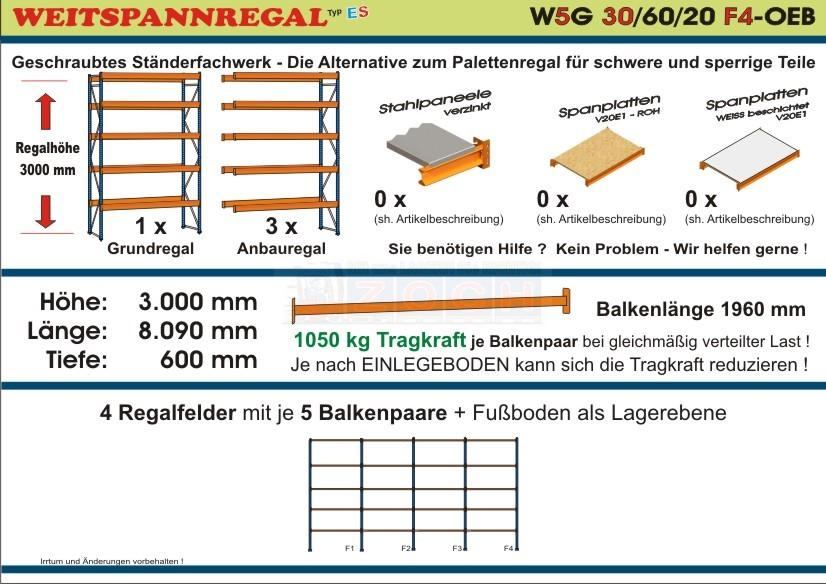 Weitspannregal W5G 30/60-20F4 Länge 8090 mm