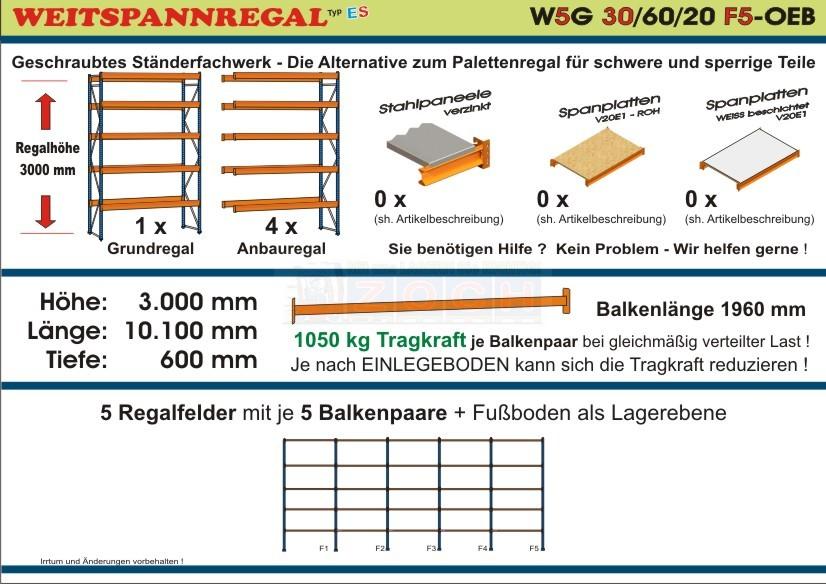 Weitspannregal W5G 30/60-20F5 Länge 10100 mm