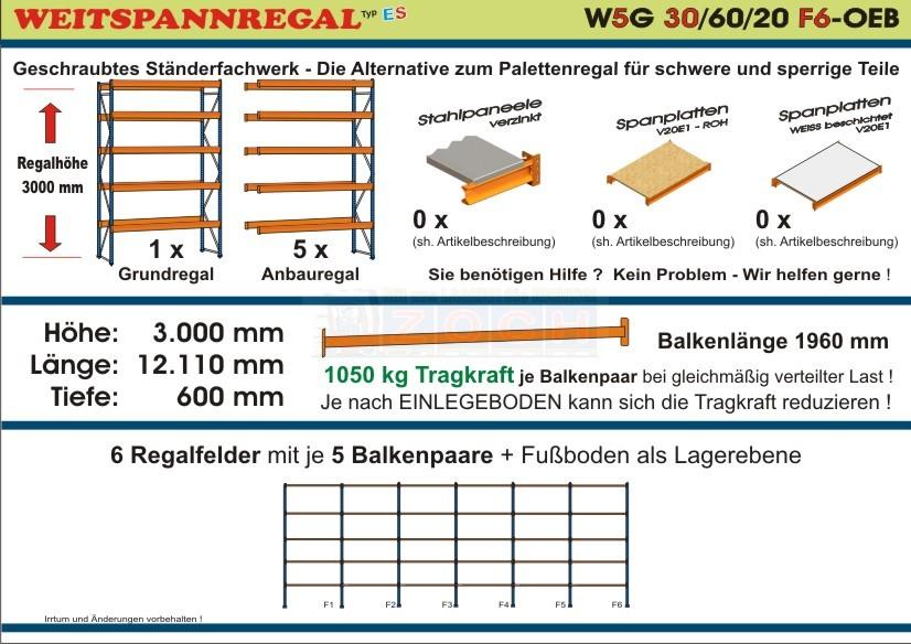 Weitspannregal W5G 30/60-20F6 Länge 12110 mm