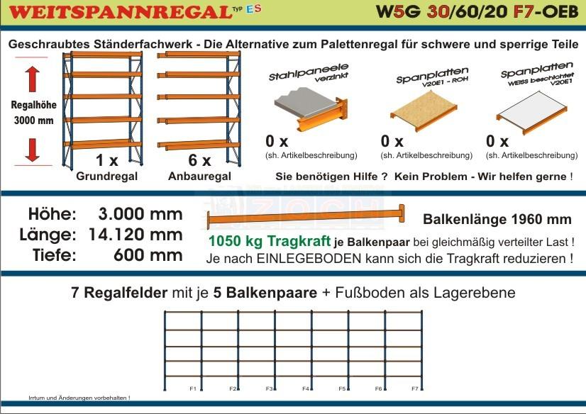 Weitspannregal W5G 30/60-20F7 Länge 14120 mm
