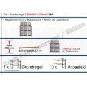 Palettenregal 25G9-10F1 Länge: 2860 mm mit 1000kg je Palettenplatz