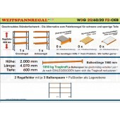 Weitspannregal W3G 20/60-20F2 Länge 4070 mm